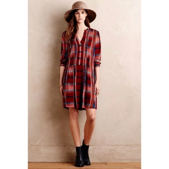 6108c261ae84 Anthropologie Dresses & Skirts - Anthropologie Red Plaid Popover Shirt Dress  XS